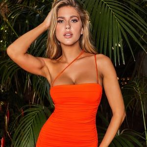 Oh Polly Ruched Orange Mini Dress